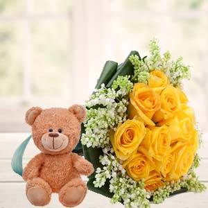 Yellow Roses And Teddy: Gift Suraj Nagar,  Bhopal