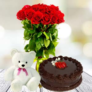 Roses Teddy And Cake: Valentine's Day Gifts For Boyfriend Janki Nagar,  Bhopal