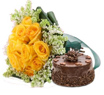 Yellow Roses And Cake: Gift Shagpur,  Bhopal