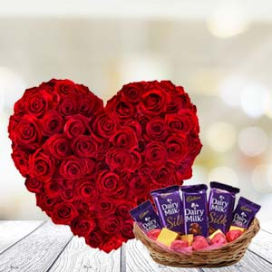 Heart Shaped Roses With Chocolates: Valentine's Day Kokta,  Bhopal