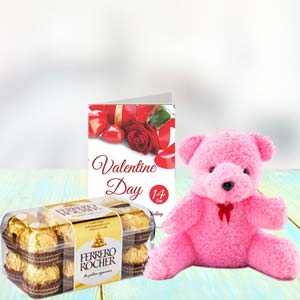 Chocolate, Teddy & Card: Kiss day  Bhopal
