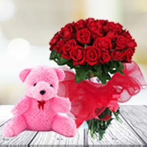 24 Red Roses & Teddy: Valentine's Day Flowers Tt Nagar,  Bhopal