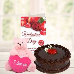 Cake Teddy & Card: Valentine's Day Baskheda,  Bhopal
