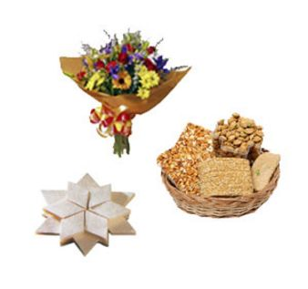 Mixed Fower With Kajukatli Combo: Gift Bagmugalia,  Bhopal