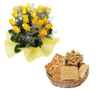 Yellow roses with Lohri Gift: Sweets Arera-hills, Bhopal