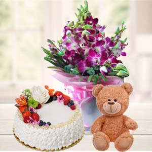 Teddy Bear, Flowers And Cake: Gift Sikandrabad,  Bhopal
