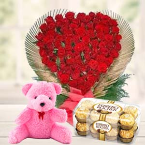 Valentine Flower & Teddy Combo: Teddy Day Bda Colony,  Bhopal