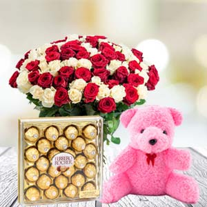 Valentine Chocolate & Teddy Combo: Rose Day Palasi,  Bhopal