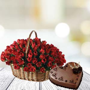 Rose Basket And Cake: Gift Bhauri,  Bhopal