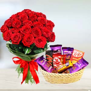 Red Roses Combo: Anniversary-flowers-&-chocolates  Bhopal