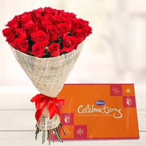 Red roses bouquet with cadbury celebrations: New year Bhanpur, Bhopal