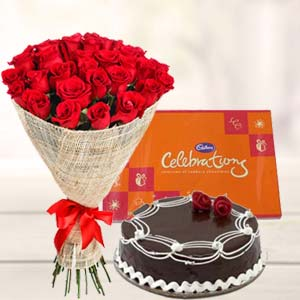 Roses combo with cake : New year Baskheda, Bhopal