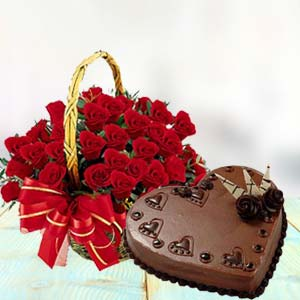 Heart Shaped Cake Combo: Birthday-flowers-&-cake  Bhopal
