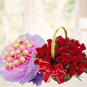 Chocolate Combo With Red Roses: Gift Kalyan Pur,  Bhopal