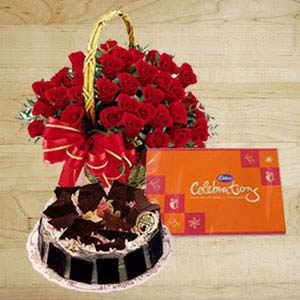 Roses With Cakes And Cadbury: Gifts Tt Nagar,  Bhopal