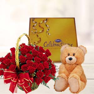 Roses With Teddy And Cadbury: Valentine's Day Flowers Kokta,  Bhopal