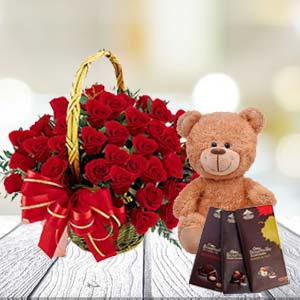 Roses With Teddy And Temptations: Gift Nishatpur,  Bhopal