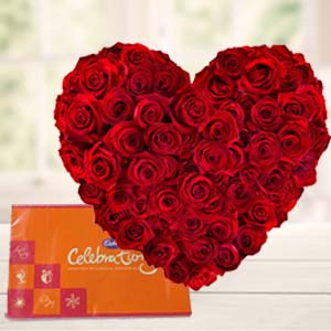 Heart Shaped Arrangement With Cadbury: Gift Lalghati,  Bhopal