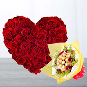 Heart Shaped Arrangement With Chocolates: Valentine's Day Flowers Kokta,  Bhopal