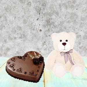 Heart Shaped Cake Combo With Teddy: Gift Bharkheda Bondar,  Bhopal