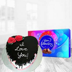 Heart Shaped Cake With Cadbury: Gift Chuna Bhatti,  Bhopal