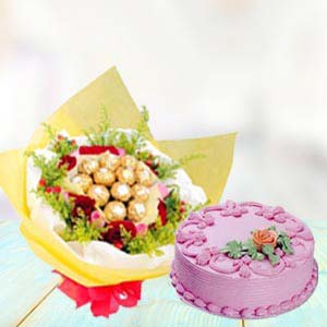 Ferrero Rocher Bunch With Cake: Gift Kopal,  Bhopal