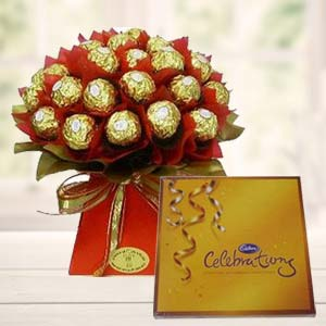 Ferrero Rocher Bouquet With Cadbury: Valentine Gifts For Husband Parewa Kheda,  Bhopal