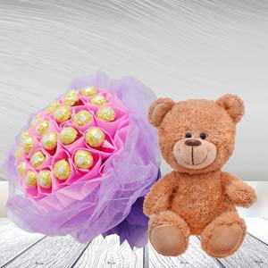 Ferrero Rocher Bunch With Teddy Bear: Gifts For Brother Sikandrabad,  Bhopal