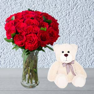 Roses Combo With Vase And Teddy: Valentine's Day Gifts For Him Data Colony,  Bhopal