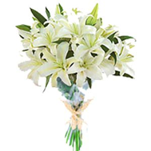 White Lilies Bunch Flowers Chocolate Basket, Bhopal