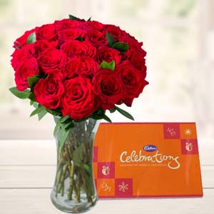 Roses In Glass Vase With Cadbury: Valentine's Day Gifts For Him Bhanpur,  Bhopal