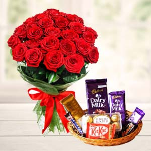 Chocolate Basket With Roses: Valentine Gifts For Husband Nishatpur,  Bhopal