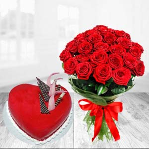 Red Heart Shaped Cake Combo: Valentine's Day Gifts For Boyfriend Kohefiza,  Bhopal