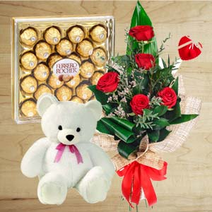 Chocolate Combo With Softtoys: Valentine's Day Gifts For Girlfriend Baskheda,  Bhopal
