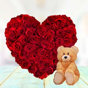 Heart Shaped Roses Combo: Valentine's Day Gifts For Him Kokta,  Bhopal