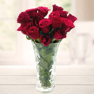 Red Roses In Vase: Gift For Friends Idgah Hills,  Bhopal