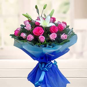 Bouquet Of Mix Roses With Lilliies: Gifts Bda Colony,  Bhopal