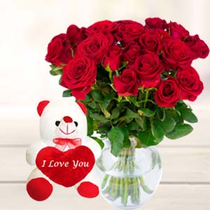 Best Teddy Combo: Valentine's Day Flowers Bda Colony,  Bhopal