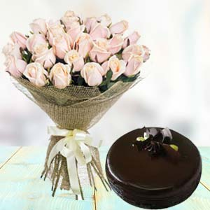 White Roses With Dark Chocolate Cake: Gift Baskheda,  Bhopal