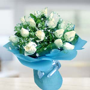 White Rose Bunch: Mothers-day-flowers  Bhopal