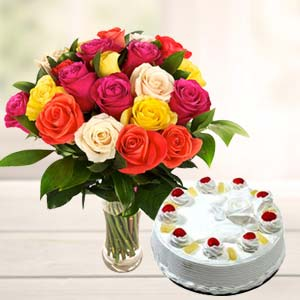 Mix Roses With Pineapple Cake: Gift For Friends Kalyan Pur,  Bhopal