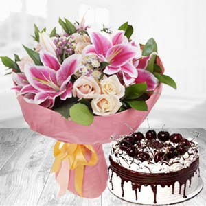 Fresh White Roses With Pink Lillies Combo: Gift Meerpur,  Bhopal