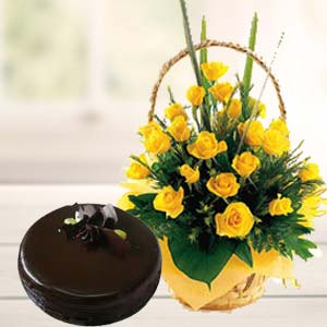 Fresh Yellow Roses With Chocolate Cake: Retirement  Bhopal