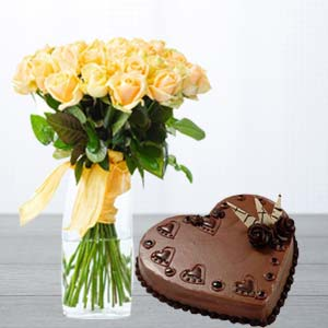 Yellow Roses With Heart Shaped Cake: Gift Janki Nagar,  Bhopal