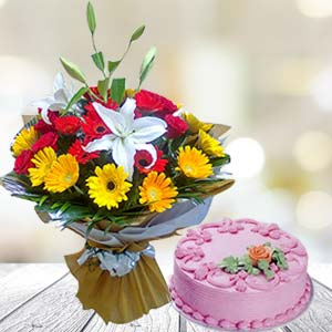 Mix Gerbera With Strawberry Cake: Gift Chuna Bhatti,  Bhopal