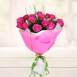 Bouquet of Pink Roses Flowers Chocolate, Teddy & Card, Bhopal