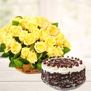 Yellow Roses With Black Forest Cake: Gift Bharkheda Bondar,  Bhopal