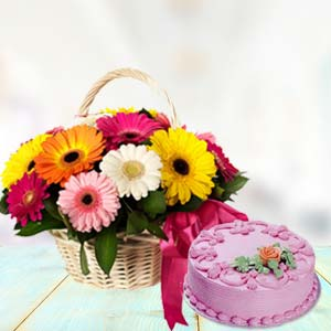 Basket Of Gerbera With Strawberry Cake: Unique-mothers-day-gifts  Bhopal