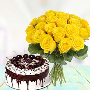 Yellow Roses With Vanila Cake: Mothers day Chichli,  Bhopal
