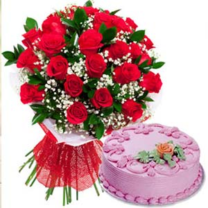 Red Roses With Strawberry Cake: Gift Bhauri,  Bhopal